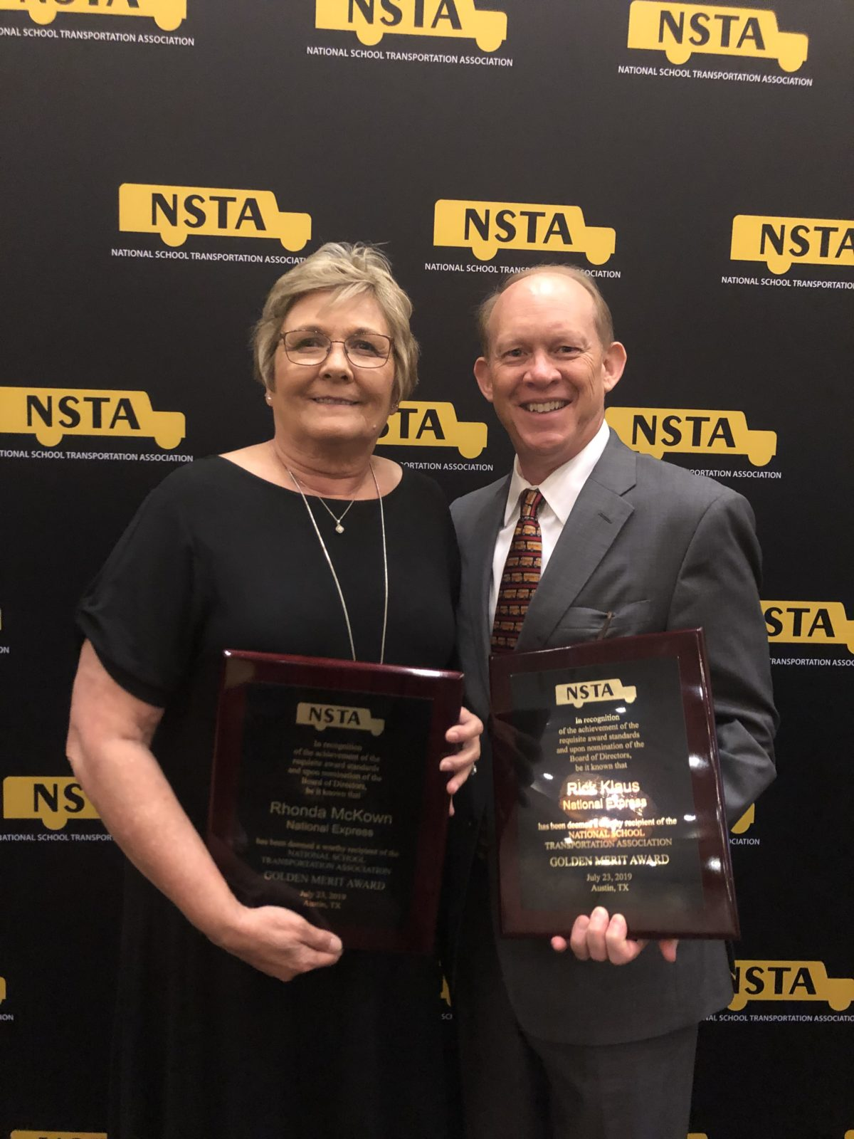 Rhonda McKown and Rick Klaus Awarded the Golden Merit Award  by the National Student Transportation Association
